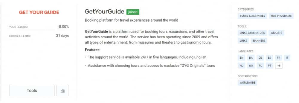 Get Your Guide Travel Payouts