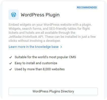 WordPress Plugin TravelPayouts